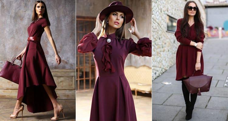 Бордовое платье: популярные модели и удачные образы